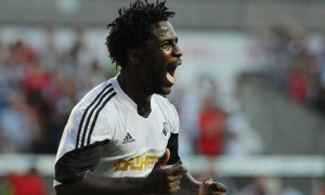 Swansea's Wilfried Bony celebrates scoring during the Europa League match against Malmo.